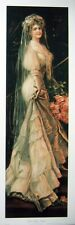 art print~THE HAPPY BRIDE~Young Victorian Lady woman Wedding tall vtg repr 10x29