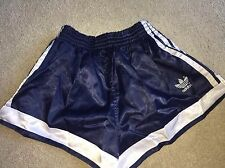 Amazing Adidas Vintage Condition Shiny Satin Sprinter Shorts Navy Blue XS D4