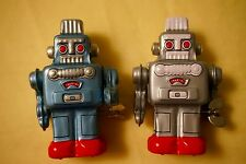 """TWO New VINTAGE Sanko Y Tin Toy Wind up Metal Robots Made in Japan 3.1"""""""