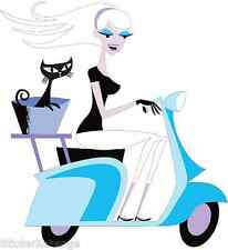 Blue Scooter Girl with Cat STICKER Decal Shag Pop Art SH107