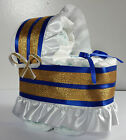 Diaper Cake Beautiful Bassinet Carriage Baby Shower Gift for Boys - Blue/Gold