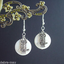 Magical Vintage Silver Owl and Pearly White Shell Moon Dangly Earrings