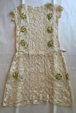Exceptional Vintage Antique Handmade Lace Dress Tunic Embroidered Flowers Tulle
