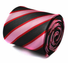 Rose, rouge et noir à rayures homme cravate par Frederick Thomas ft718 rrp £ 19.99