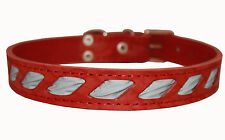 "Genuine Leather Reflective Dog Collar 17""-21.5"" neck Rottweiler Pitbull"