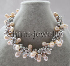 "Beautiful 18"" 4row 17mm pink & gray freshwater pearl necklace - GP clasp"