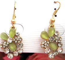 Ladies Crystal Flowers Soft Green Rhinestone Earrings new
