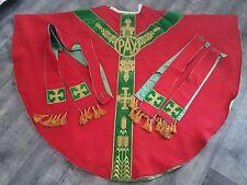 CHASUBLE de prêtre brodé fil d'or + étole + 2 manipules ecclésiastique - 12499