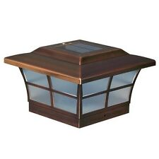 "Solar Post Cap LED Fence Deck Lights  6""x6"" Copper Electroplated Finish Set Of 2"