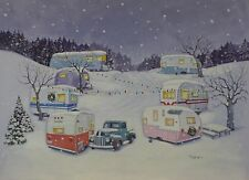Vintage Winged Shasta Nomad Airstream Spartan Travel Trailer RV CHRISTMAS CARDS