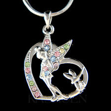 w Swarovski Crystal ~Rainbow Tinker Bell~ Tinkerbell Fairy Angel Heart Necklace