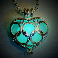 Hot Silver Plated Hollow Heart Metal Box Glow in Dark Stone Pendant Necklace