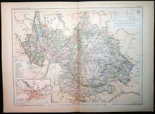 1901 impression antique carte en Couleurs de Savoie Chambéry La France carte