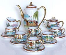 Antique Japanese Eggshell Porcelain Tea Pot Cups & Saucers Set