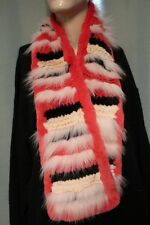 "Trilogy Collection Red, White & Black Fox, Rabbit Fur Scarf 48"" Long"