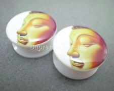 "PAAR 7/8"" 22mm Acryl Glitter Gold Buddha Gesicht Flesh Tunnel Ohr Plugs 3433"