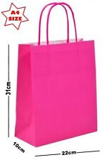 5 x Hot Pink Paper Party Gift Bags ~ Boutique Shop Loot Carrier Bag - SIZE A4