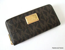 "MICHAEL KORS JET SET ZIP-AROUND CONTINENTAL LOGO WALLET ""BROWN"" MSRP $138 ~ NWT!"