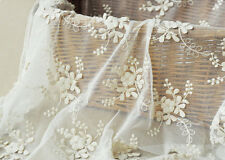 "Vintage 51"" Wide White Corded Embroidery Bridal Lace Fabric Floral Lace 1/2 Yard"
