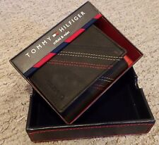 TOMMY HILFIGER ~ TRIFOLD WALLET & VALET ~ 100% LEATHER ~ AUTHENTIC ~BLACK ~ BNIB