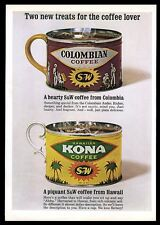 1963 S&W Kona coffee & Columbian can color photo vintage print ad