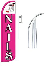 Nails (Pink) Standard Windless Swooper Flag With Complete Kit