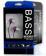 Bass Microbud EP-2800-3 Purple Aluminum Earbuds Earphones Headphone High Quality