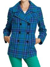 $100 Old Navy Teal Aqua Blue Double Breasted Wool Tartan Plaid Pea Coat  M 6 8