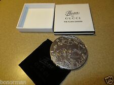 "Gucci Silver Metal ""The Flora Garden "" Compact Mirror NEW! in Original Box."