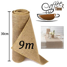 9M Hessian Table Runners Sew Edge Wedding Decoration Vintage Shabby Chic 30cm UK