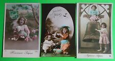 Children Eggs-Joyeuses Paques Easter-3 Antique VTG French Real Photo Postcards
