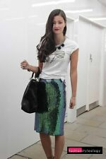 Women's H&M Green Mermaid Fish Scale Sequin Designer Pencil Skirt - Sz 2/Eur 32