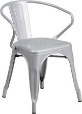 SILVER INDOOR-OUTDOOR RESTAURANT METAL DINING CHAIR WITH ARMS