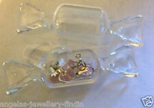 2 x Clear Plastic Candy Wrap Shape Jewellery Containers