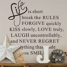 Life is Short Break the Rules Quote Wall Sticker Vinyl Home Wall Letters Decor