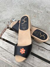 Cape Clogs Made In Sweden Black Leather Slides Flower 39 Free Ship Mint Wood