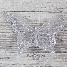 12 Sheer Fabric Glitter Organza Butterflies Florist Wire Cakes Crafts 7 / 8cm