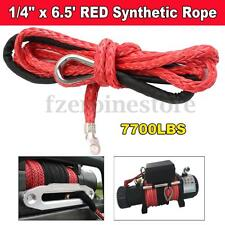 1/4'' x 6.5' RED Synthetic Winch Line Cable Rope 7000 LBs for PLOW (ATV UTV)
