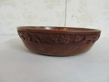 "Large Wooden Bowl Made in India 8"" Round 2"" Tall with Intricate Carvings"