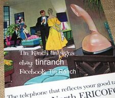 vintage ERICOFON TIN SIGN retro telephone Cobra Phone Mad Men Mid century modern