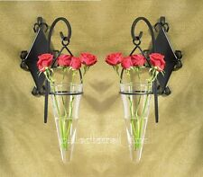 Set of 2 Black Hanging Pendant Metal Wall Glass Flower Vase