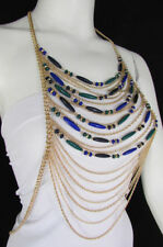 New Women Full Gold Body Chain Fashion Jewelry Cocktail Dress Green Blue Beads
