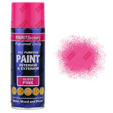 x2 400ml All Purpose Pink Gloss Aerosol Spray Paint Can Household Car Plastic..