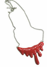 blood drip vampire necklace metal silver and red colour 18 inch chain gothic