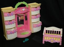 Fisher Price Doll Furniture Snap n Style Wardrobe w/ Mirror Light Comb Crib
