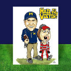 New JIM HARBAUGH Michigan Wolverines POSTER ART, artist signed, UM football