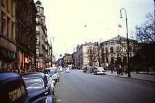 OSLO NORWAY MAIN STREET PARLIMENT BLDG ON RIGHT  MAY 1957  35mm Slide RED BORDER