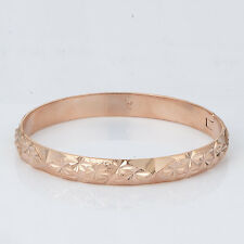 Korean Jewelry 14K Rose Gold Filled Wide Fashion Bangle Bracelet Classic