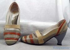 John Fluevog Blind Faith pumps heels shoes 8.5 M taupe red beige patent leather