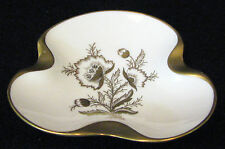"""Lindnet """"Maxlen"""" ash tray or candy dish white with gold flowers and gold trim"""
